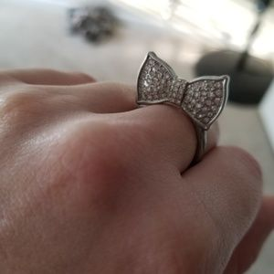 Silver bow ring size 8
